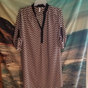 Tacera Size 2X Sheer Chevron Patterned Dress